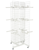 4-Sided White Gridwall Stand w/ 25 Faceouts for Retail Stores