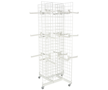 4-Sided White Gridwall Stand w/ 25 Faceouts, Metal Wire