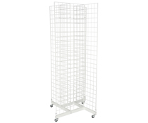 4-Sided White Gridwall Stand w/ Casters