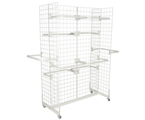 "White Gridwall ""H"" Stand w/ 10 ""C"" Hangers & Wheels"