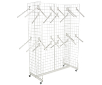 "White Gridwall ""H"" Stand w/ 25 Waterfall Faceouts, Metal Construction"