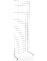 "Set of 2 White Gridwall ""L"" Base Stands with Shiny Finish"