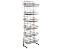 "Black Gridwall ""L"" Stand w/ 12 Baskets, Hardware Included"