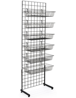 "Metal Black Gridwall ""L"" Stand Basket System in Set of 2"