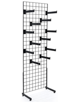 "Set of 2 Metal Black Gridwall ""L"" Stand Faceout System"