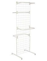 "White Gridwall ""T"" Stand w/ 10 ""C"" Hangers, 74"" Overall Height"