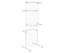 "White Gridwall ""T"" Stand w/ 10 ""C"" Hangers, Hardware Included"