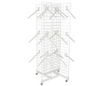 Freestanding 4-Sided White Gridwall Stand w/ 25 Waterfall Faceouts