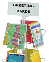 Closeup of wire pockets on a greeting card display