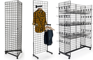 Rolling gridwall displays