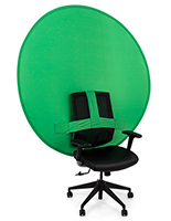 Portable chair mounted green screen with round shape