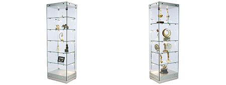 Glass display case tower with adjustable shelving