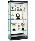 Modern Glass Display Cabinet with Black Base and Canopy