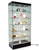 Modern glass display cabinet with frameless design