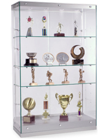 Contemporary Glass Display Cabinets with Silver Base and Canopy