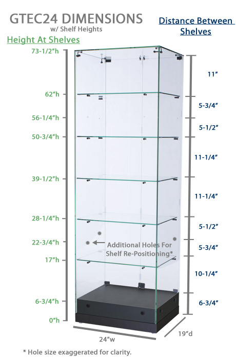 Black Mdf Display Case Glass Top W O Lighting