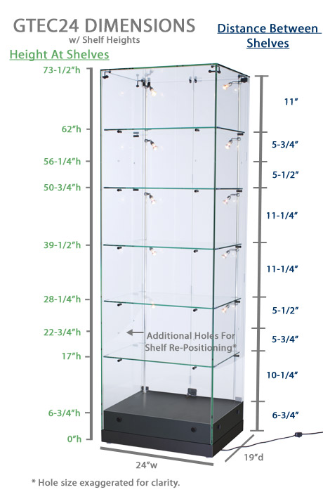 Display Case Vertical Lighting Strips Black Mdf