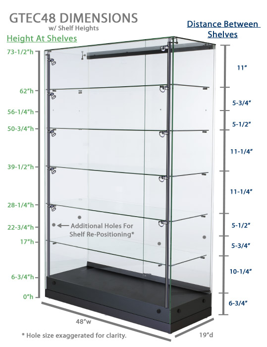 Display Cases Vertical Lighting Amp Adjustable Shelf