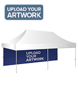 10 x 20 pop up canopy backwall with hook and loop placement style
