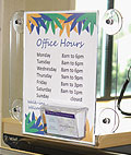 Window sign holders are double-sided for indoor and outdoor visibility!