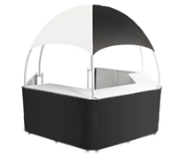 Black/White Dome Kiosk with Wraparound Counters