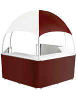 Burgundy/White Trade Show Gazebo with Wraparound Counters