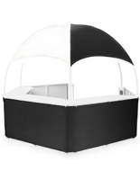 Black/White Tent Kiosk with Food Grade Counters