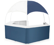 "Blue/White Gazebo Kiosk with 19"" Deep Counters"
