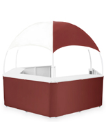 Outdoor Burgundy/White Gazebo Kiosk