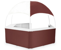 Burgundy/White Gazebo Kiosk with Vinyl Canopy and Skirt