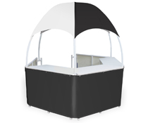 Black/White Gazebo Kiosk with Wraparound Counters