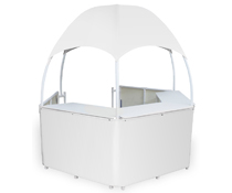 White Dome Kiosk with 3 Counters