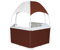 Burgundy/White Dome Kiosk with Wraparound Counters