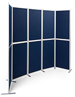 Clip and pole exhibit panel system with hook-and-loop receptive fabric