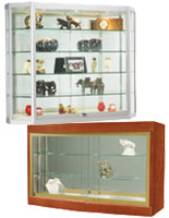This hanging display cabinet selection features units of various sizes and styles in wood or metal.