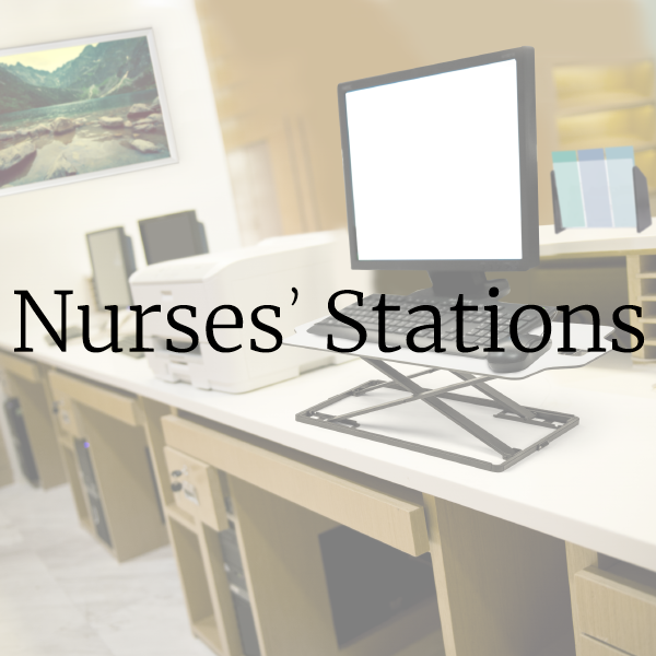 Hospital office signs and supplies for nurse station