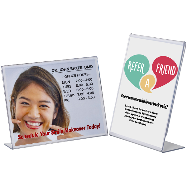 Countertop sign displays for medical practices
