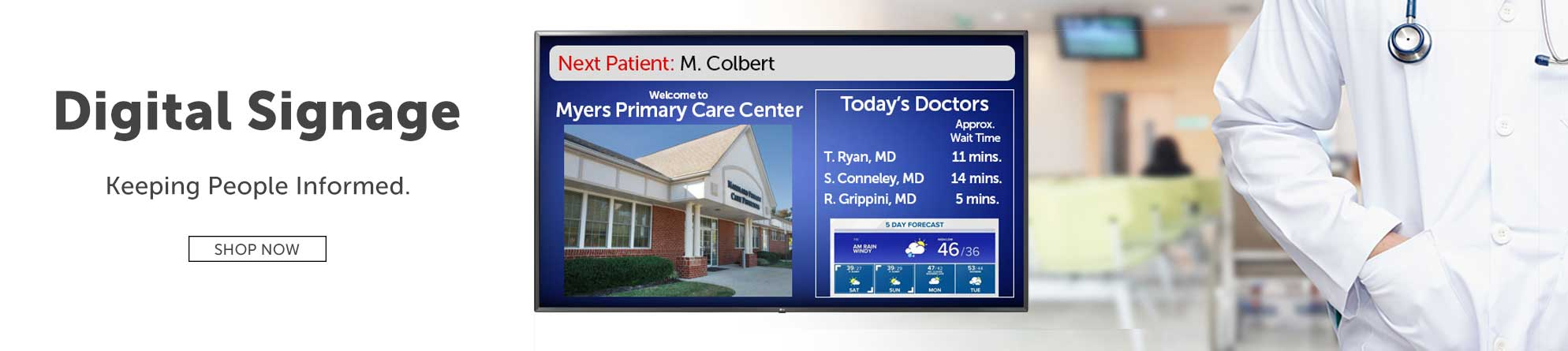 Keep people informed with digital signage for professionals