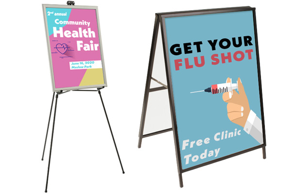 Easily swappable sign holders for doctors offices and hospitals