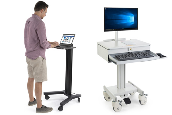 Rolling laptop stands and mobile computer workstations