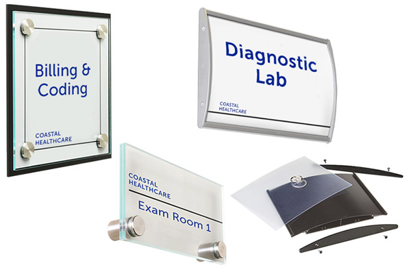 Acrylic and plastic sign kits for medical offices and exam rooms