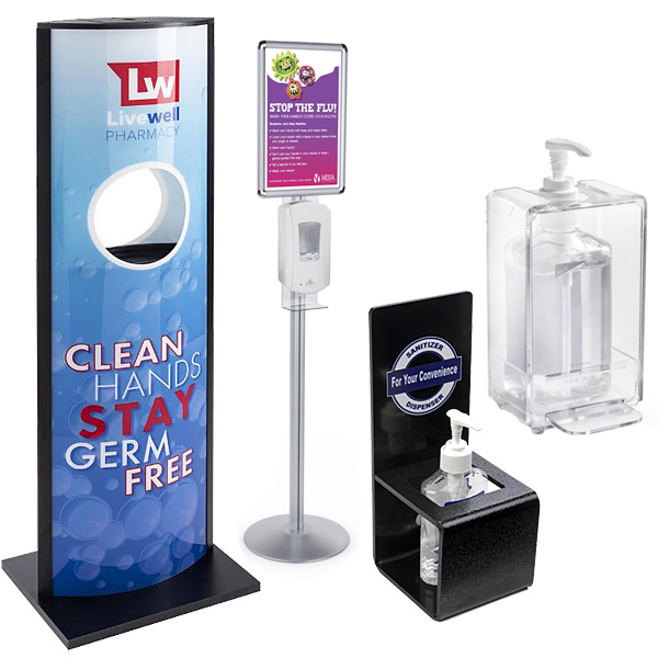 Hand sanitizing stations for hospital lobbies and waiting rooms