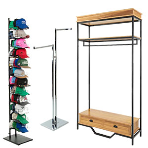 Clothing racks make great hospital gift shop retail fixtures because they can feature baby clothes and apparel for visitors