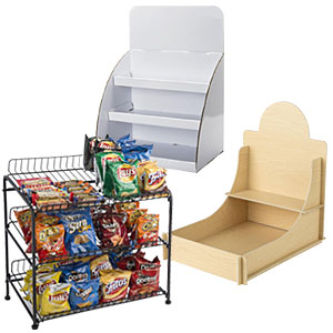 Display small items with hospital gift shop retail fixtures like countertop merchandising stands