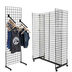 Hospital gift shop retail fixtures including gridwall stands and mounts are customizable displays for presents like decks of cards and crossword puzzle books