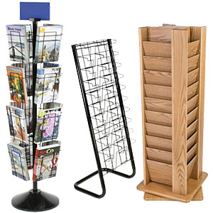 Hospital gift shop retail fixtures like magazine racks feature entertaining literature that both patients and visitors will appreciate