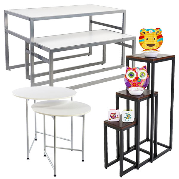 Nesting tables make great hospital gift shop retail fixtures because they can move to accommodate stock and traffic
