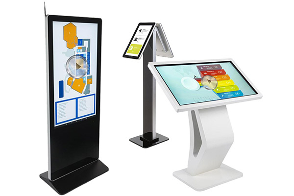 Hospital waiting room digital kiosk directories for patient and visitor wayfinding