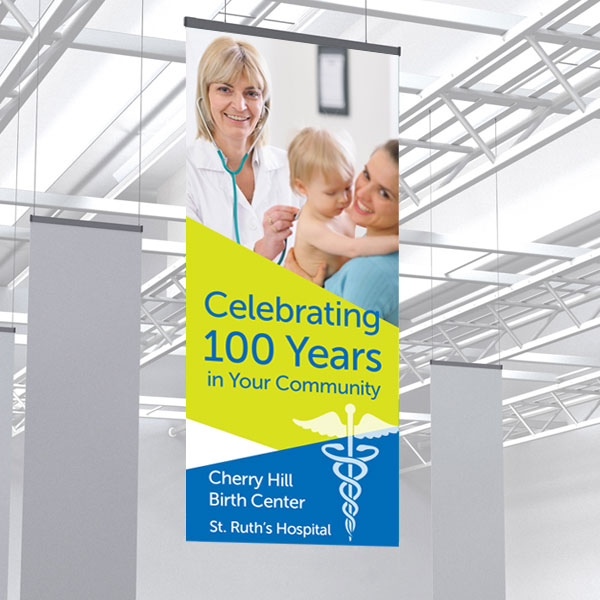 Hospital waiting room hanging banners with easy online designer