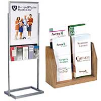 Hospital waiting room literature holders for announcements and care information
